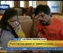SO ASHAMED Manny Pacquiao, with wife Jinkee, brushes his tears away during a TV interview on Monday for letting his country down. VIDEO GRAB FROM GMA 7