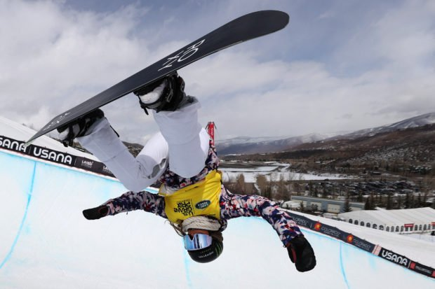Chloe Kim of the United States competes in the women's snowboard halfpipe final during Day 4 of the Land Rover U.S. Grand Prix World Cup at Buttermilk Ski Resort on March 21, 2021 in Aspen, Colorado.   Sean M. Haffey/Getty Images/AFP (Photo by Sean M. Haffey / GETTY IMAGES NORTH AMERICA / Getty Images via AFP)